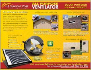 New Solar Powered Attic Fan All Purpose Ventilator US Sunlight 1010APV