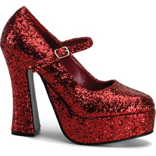 Dorothy Red Glitter Mary Jane Drag Queen Platform Shoes