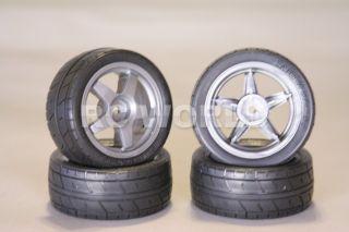 RC 1 10 Tamiya Car Tires Wheels Rims Package Black Racing Slicks