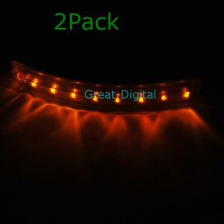 2X Yellow Car 8 LED Soft Turn Signal Lights Door Mirror