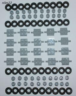 LEGO Lot of 100 Car Parts (Wheels Tires Axles Rims Bulk Truck Pieces