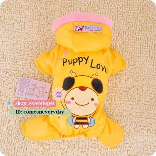 Puppy Love Smile Bee Warm Thicken Soft Fleece Dog Clothes Jumpsuit XS