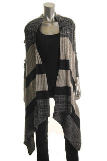 Autumn Cashmere New Gray Cashmere Colorblock Draped Cardigan Sweater s