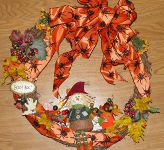 Autumn Fall Orange Black Spiders Berries Harvest Decoration
