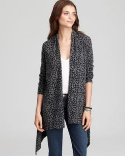 Autumn Cashmere New Gray Cashmere Leopard Print Long Sleeves Cardigan