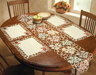 Set of 4 Halloween Thanksgiving Fall Harvest Placemats & Table Runner