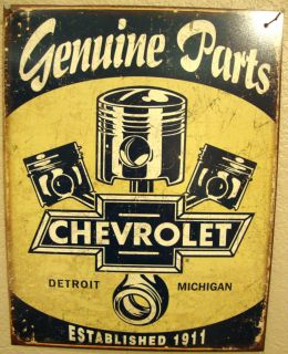 Chevrolet Engine Parts Antique Car Truck 1950s Vintage Tin Metal Sign
