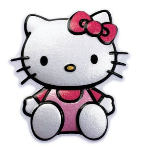 Hello Kitty Cat Glittery Plastic Cake Topper Decoration Decor 2D Pop