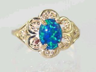 R125, Created Blue/Green Opal Filigree, Gold Ring