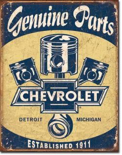 Chevy 1911 Genuine Parts Pistons Metal Tin Sign Auto Garage Home Decor