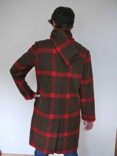 Vtg 40s Wool Bill Atkinson Plaid Coat Jacket Scarf