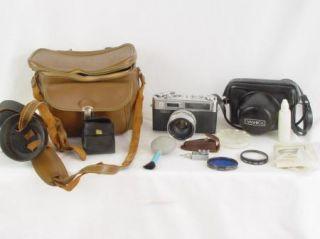 Vintage Yashica Electro 35 35mm Camera Kit Filters, Case, Wide Lens