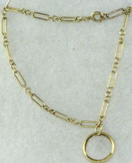 Vtg 1920s 10K Gold Charm Bracelet Baby Ring