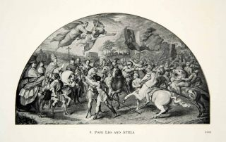 1915 Print Pope Leo Attila Hun Rome Italy Historic Battle Warriors