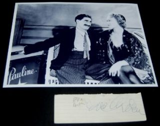 Actress Eve Arden Signed Card and Great Print w Groucho Marx D 1990