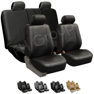 FH PU002114 PU Leather Car Seat Covers Airbag Ready Split Bench Black