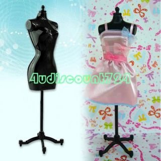 Doll Garment Clothes Dress Display Stand for Barbie Dolls Baby Black x