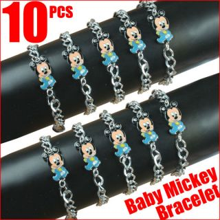 Lot 10 pcs Baby Mickey Mouse Charm Bracelets Baby Shower Birthday