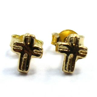 GF Tiny Little Cross Crucifix Earrings Birth Gift Girl Baby Infants