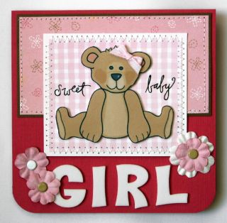 Handmade Card Baby Girl New Mom Congrats Welcome Bear
