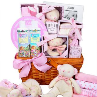 Baby Girl Pink Newborn Gift Basket Footprint Keepsake Rattle Frame
