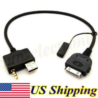 AUX Input Cable for Ipod Iphone 4 4S Ipad Itouch Nano USB 3 5mm AUX