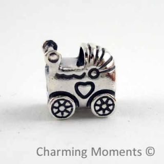 New Authentic Pandora Silver Charm Baby Carriage 790346 Bead