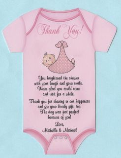 Die Cut Onesie with Baby Personalized Baby Shower Thank You Cards with