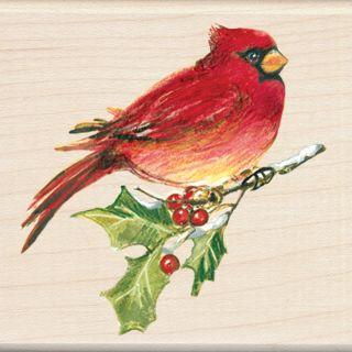 Cardinal Christmas Wood Mounted Stamp Inkadinkado Craft