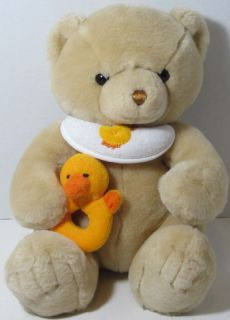 Schwartz BEIGE TEDDY BEAR With Bib DUCK RATTLE Stuffed Plush Animal