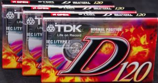 PACK OF 3 TDK D120 120 MINUTE BLANK AUDIO CASSETTE TAPES PERFECT MUSIC