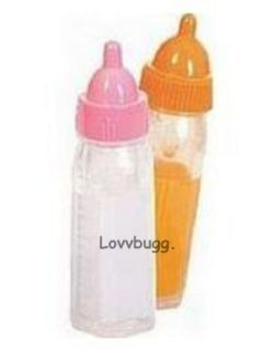 Doll Baby Bottles Milk Juice set of 2 fits Bitty Baby & many more BEST