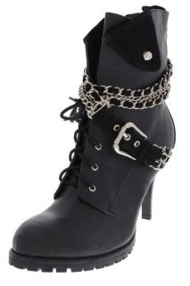 Baby Phat NEW Harmony Black Chain Embellished Combat Ankle Boots Heels