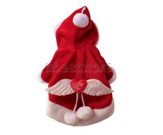 Xmas Cotton Red Hoodie dog clothes christmas Angel Wings cotton padde