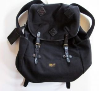 RALPH LAUREN POLO black canvas w/ leather backpack book bag NWT