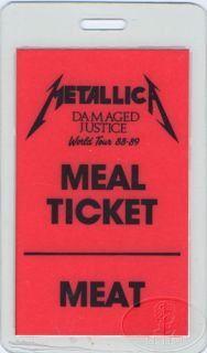 METALLICA 1988 89 TOUR LAMINATED BACKSTAGE PASS MEAL TICKET MEAT