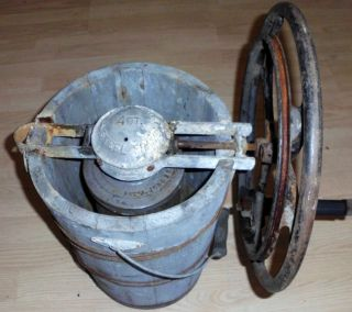 Antique 4 Quart Ice Cream Maker Freezer With Hand Wheel Frost King
