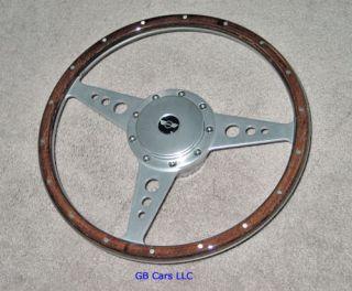 Austin Mini Cooper 14 Wood Alloy Steering Wheel