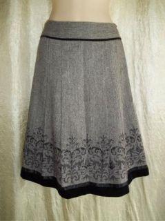 Black Herringbone Wool Blend Ann Taylor Loft Pleated Skirt 8