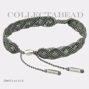 Authentic Pandora Silver Large Gray Macrame Bracelet
