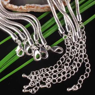 5pcs Silver Plated Snake Chain Charm Bracelet Finding