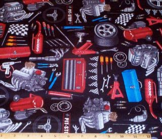 Sew Geared Up Car Mechanic Tools Race Fabric yds RJR Cotton Dan Morris