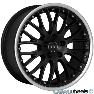 BLACK MESH LIP WHEELS FITS AUDI A4 S4 RS4 B5 B6 B7 B8 QUATTRO TDI RIMS