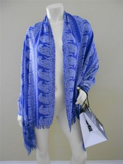 Bajra Women $250 Silk Scarf Shawl Wrap Sarong Blue Paisley Print in