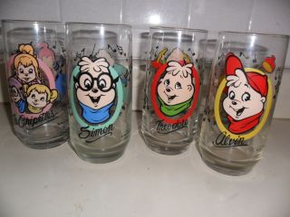 VINTAGE 1985 BAGDASARIAN ALVIN CHIPMUNKS DRINK GLASSES COLLECTOR