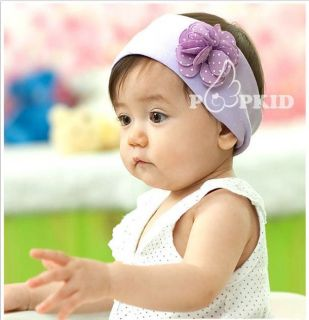 Baby Flower Headband Infant Toddler Boy Girl Cotton Head Band Purple
