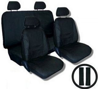 SOLID BLACK Car Seat Covers SET w Steering Wheel Cover Belt Shoulder