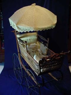 Victorian Brown Wicker Pram Baby Carriage Parasol HDW
