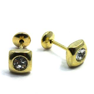 GF CZ White Crystal Square Baby Earrings Girl Inafants Safety Stud 5mm