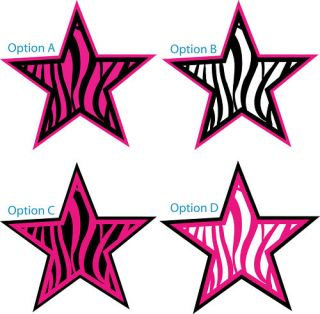 Stickers Decals Zebra Print Star Two Colors Car